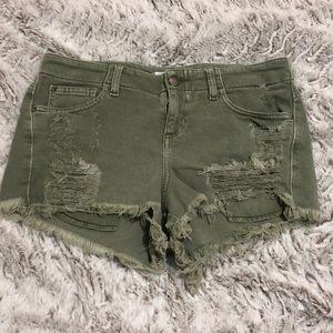 Guess light green denim short shorts